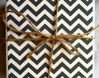 Tile Coasters - Set of 4 - Navy Chevron/Green Bohemian