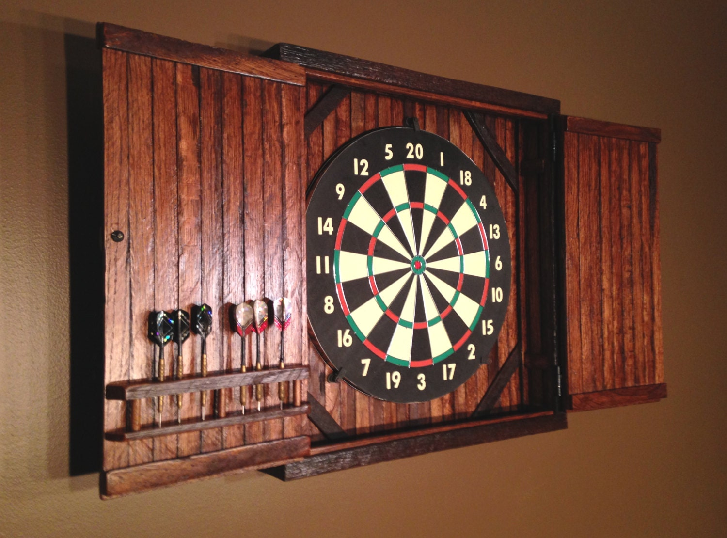 Rustic Dartboard Cabinet Reclaimed Barn Wood Home Decor