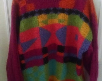 Gorgeous Color Block 80s sweater by the Limited.  Women's M/L