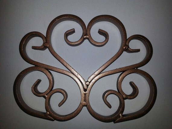 Items Similar To Small Wrought Iron Heart Scroll Wall