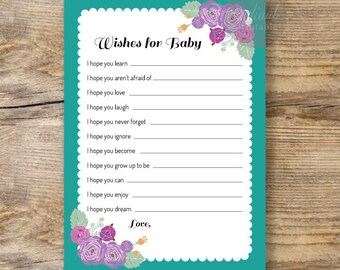 Turquoise Baby Wishes Printable/Baby Shower - Wishes for Baby Card/ INSTANT DOWNLOAD -10-1