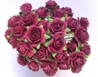 50 Burgundy Mulberry Paper Roses 10mm (1 cm)