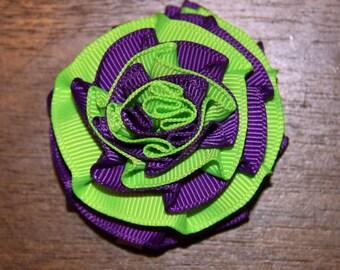 Small Bright Green & Purple Rosette on Alligator Clip