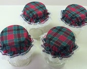 4 Red and Green Christmas Plaid Canning Jar Bonnets/Jar Topper /Jar Lid Cover