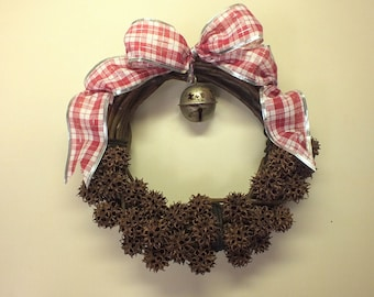 Sweet Gum Balls Grape Vine Christmas Wreath with Weathered Dangling Silver Bell