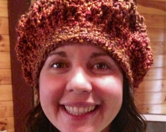 Burnt Orange Crochet Beanie / Slouchy Beanie / Skull Cap / Running Hat / Chemo Beanies / Mom Life Beanie / Ear Warmer Hat