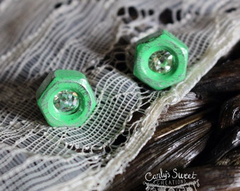 Distressed Mint Hex Nut Rhinestone Earrings