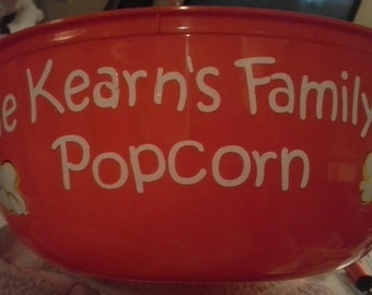 Personalized Popcorn Bowl, Family Popcorn Bowl, Custom Food Bowl Your Way
