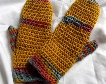 Crochet Mittens, Gold Mittens,Thick, Cozy, Warm, Handmade, Boho, Colorful Accessories, Acrylic Cotton Fiber
