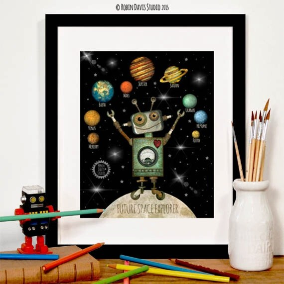 Items similar to space decor astronomy print outer for Robot baby room decor