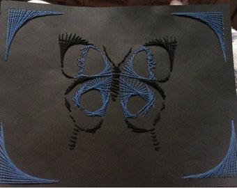Blue & Black Butterfly String Art