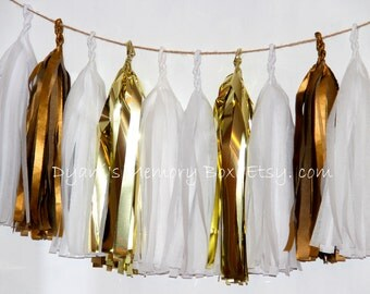 Metallic Gold and White Handmade Tissue Tassel Garland   /  Wedding Tassel Garland / Party Home Decor