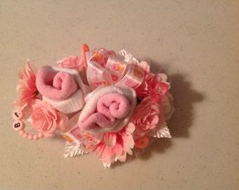 Baby girl sock corsage