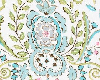 Love Bird Damask Fabric - By The Yard - Damask / Pink / Blue / Green