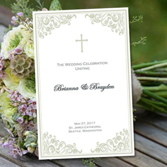 Catholic Church Wedding Program Faith Sage Mint
