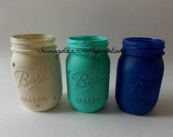 Shabby Chic Painted Mason Jars, Ivory, Aqua, & Navy