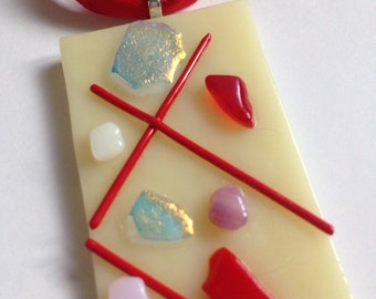 Abstract fusedglass hanging red and dichroic