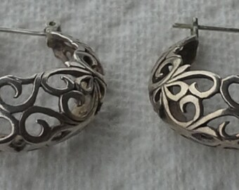 lace handmade basket sterling silver pierced pair of earrings