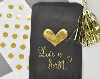 Love is Sweet Candy Bags - Gold Foil Wedding Candy Buffet Bags - Black and Gold Wedding Favors - Gold Polka Dot - (EB3038) - set of 12 bags