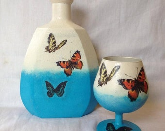 Butterfly decoupaged brandy decanter and glass set - blue and cream - vintage style