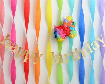 gold glitter happy birthday banner garland