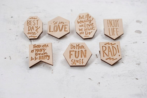 Wooden Engraved Quote Pins