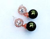 Green Wedding Pearls 395ERG. DARK GREEN Pearl Earrings. Rose Gold Earrings. Round Halo CZ Bridal Earrings. Rose gold Wedding Jewelry