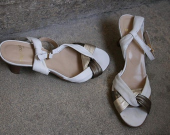 french italian Heyraud braided plaited white bronze and golden leather sandals pumps ankle strap