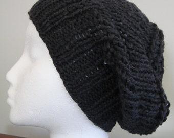 Navy Knit Beanie Hat, Cashmere/ Linen Yarn