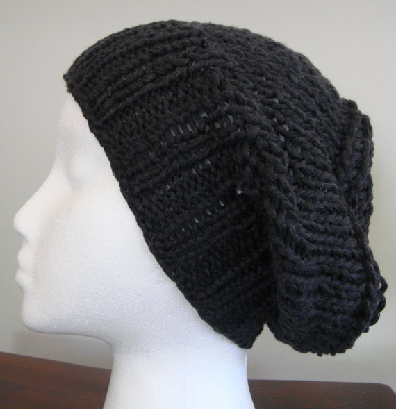 Navy Knit Beanie Hat Cashmere/ Linen Yarn by AllNaturalFiber