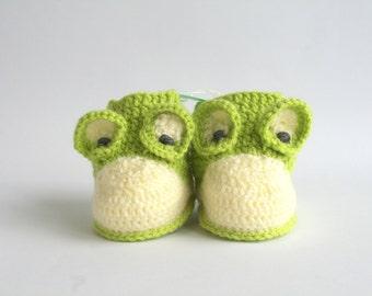 Crochet baby booties-baby boy booties-crochet baby boy booties-frog booties-newborn booties-newborn shoes-infant shoes-infant booties