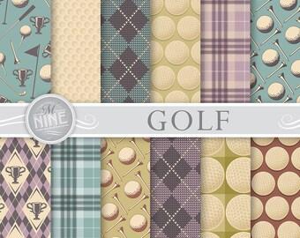 "GOLF Digital Paper: ""Golf Vintage"" Pattern Prints, Golf Patterns Golf Background Scrapbook Print"