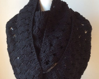 Handmade Knitting Black Infinity Scarf, Wool And Acrylic Blend