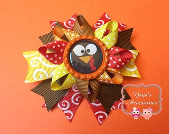 Thanksgiving Bow, Thanksgiving Turkey Bow, Thanksgiving Hair Bow, Turkey Bow, Turkey Hair Bow, Thanksgiving Bottle Cap Bow,Red