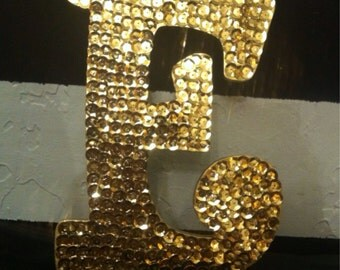 Gold Sequin Letter E-Wedding Letter-8 in. wood letter-Wedding Decoration-Ready to Ship