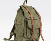 Men Canvas backpack, crazy horse leather bag, backpack, handbag, college wind, travel bag