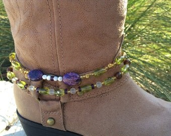 Purple Agate and Green Beaded Boot Bracelet