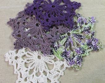 Purple and White Crochet Lace Snowflakes