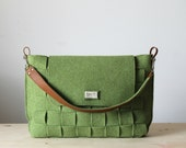 Satchel Bag/ Messenger bag / Felt bag / Green felt bag /  Weave felt bag / Tote bag / organizer bag