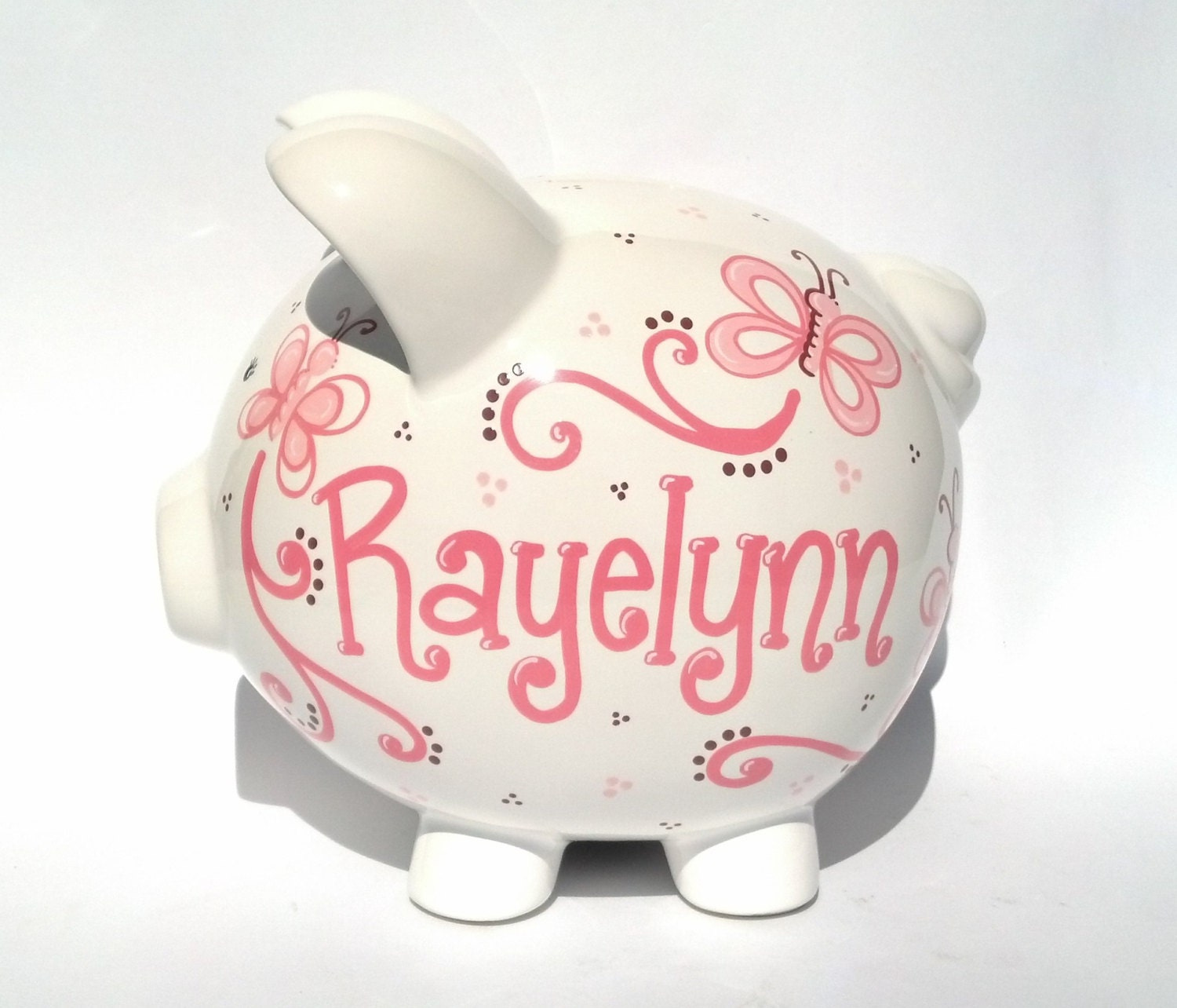 Butterflies personalized piggy bank ceramic custom for Make your own piggy bank