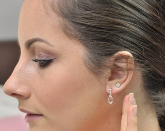 Bridal earrings, pearl drops of Crystal