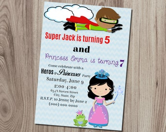 Super Hero & Princess Double Birthday Invitation DIY Printable