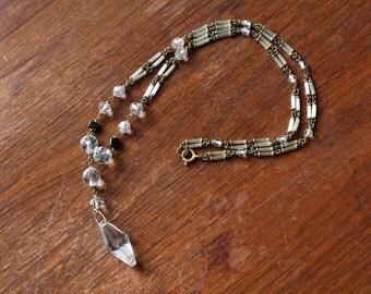 vintage 1920s necklace // 20s crystal glass necklace