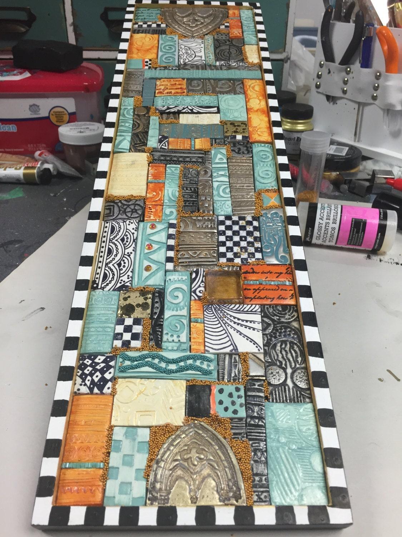 Art Décor: Polymer Clay Tiled Mosaic Wall Art Handmade Polymer Clay
