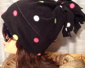 Black polka dot fleece pompom hat women men children