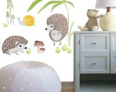 Wall Decal Kids, Baby Nursery Wall Decal, Girls and Boys Room Decor, Animals Wall Decal Porcupines and Snail Scene.