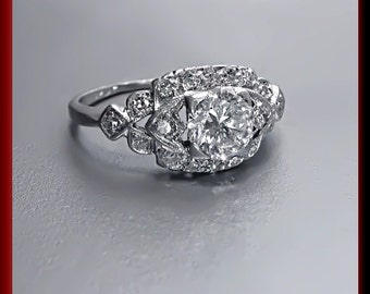 Vintage Art Deco Antique Engagement Ring Old European Cut Diamond Platinum Wedding Ring - ER 432S