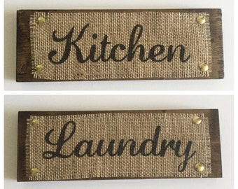 KITCHEN & LAUNDRY *set of 2* Wood Sign Burlap Print Rustic Country Style House Decor