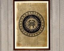 Zodiac print Occult poster Cancer star sign decor WA145