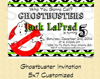 GHOSTBUSTER Party Invitation- You Print, Customized Ghostbuster Invite